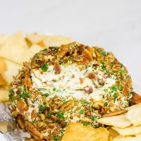This Bacon Cheddar Ranch Cheeseball is perfect for holiday appetizer parties...or just holiday snacking in general!