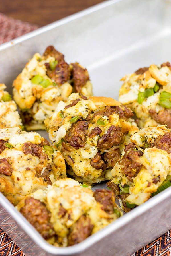 These Italian Stuffing Balls are a fun twist on the classic holiday side dish!