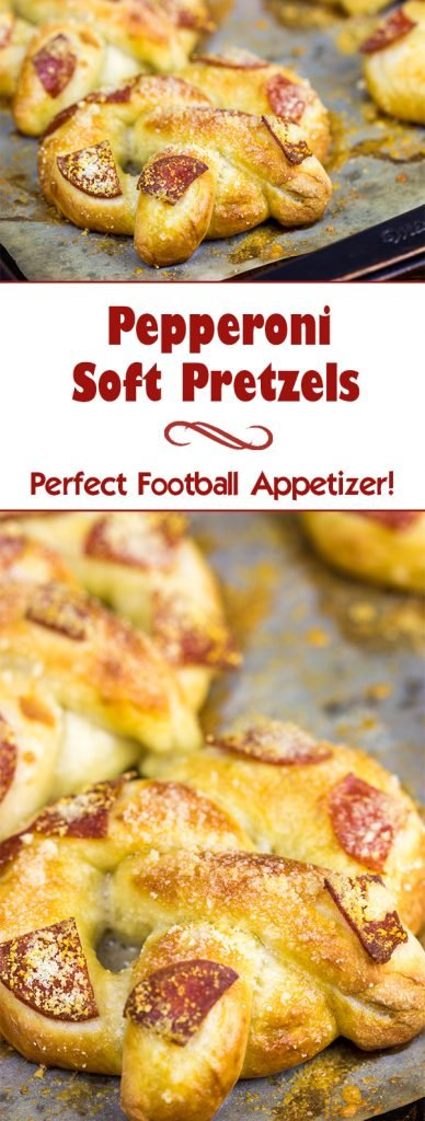 Soft, chewy homemade pretzels topped with tasty pepperoni...these Pepperoni Soft Pretzels make for an excellent appetizer while watching the big game!