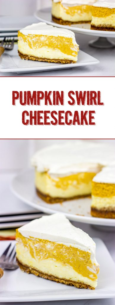 Love cheesecake? Love pumpkin spice? Then this Pumpkin Swirl Cheesecake is calling your name! It's the perfect Autumn dessert!