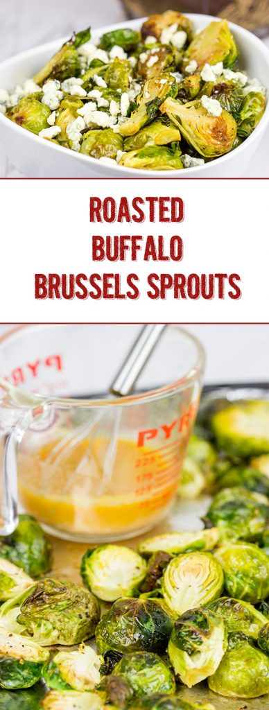 Buffalo sauce on oven-roasted veggies? Yup! These Roasted Buffalo Brussels Sprouts are delicious!