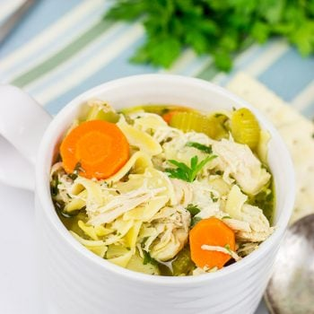 This Slow Cooker Chicken Noodle Soup is perfect for cold winter days when you just want to curl up on the couch with a good book!