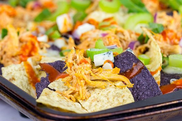 These Buffalo Chicken Nachos are an epic appetizer to serve while watching football!