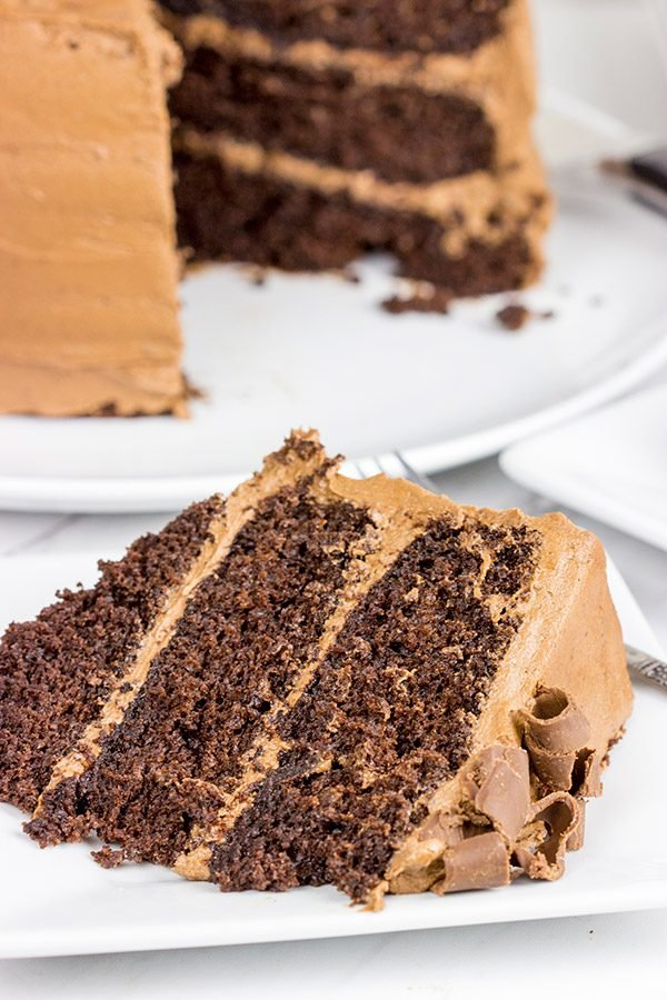 This Chocolate Chocolate Cake is a classic! This rich, moist cake is topped with a creamy chocolate frosting for a sweet treat that's sure to put you in a good mood!