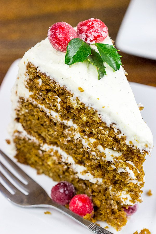 Packed with spices and real vanilla beans, this Gingerbread Cake with Vanilla Bean Frosting is the perfect holiday dessert!