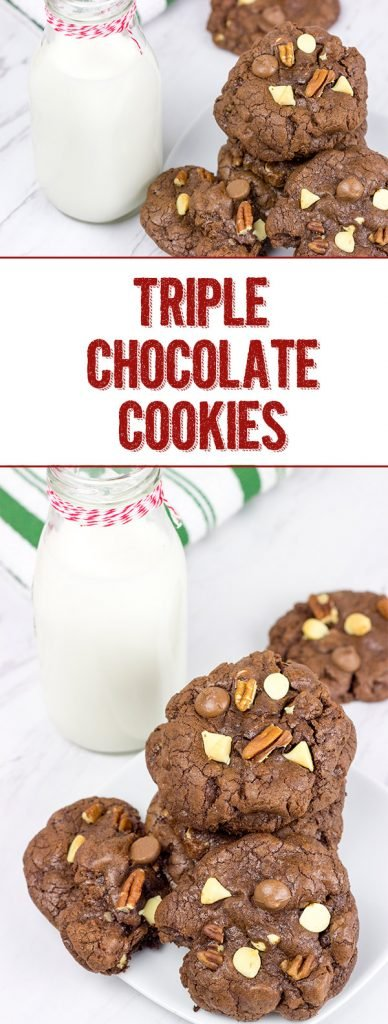 These Triple Chocolate Cookies feature 3 types of chocolate for triple the deliciousness! Enjoy!
