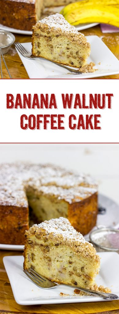 Say hello to morning with a big slice of this tasty Banana Walnut Coffee Cake!