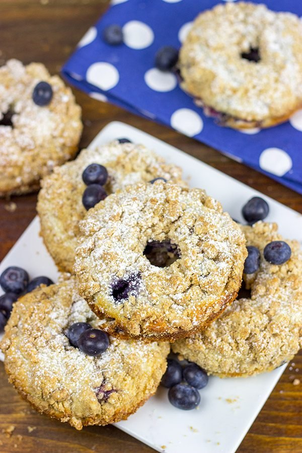 Embrace the crumb! These Blueberry Crumb Donuts will make you cheer for crumbs again!