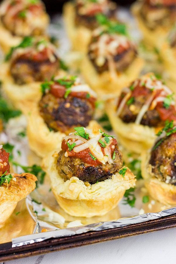 These Italian Meatball Tartlets are the perfect gameday appetizer!