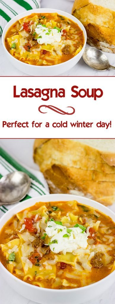 Love lasagna? Then you'll love this Lasagna Soup! It's perfect for a cold winter day!