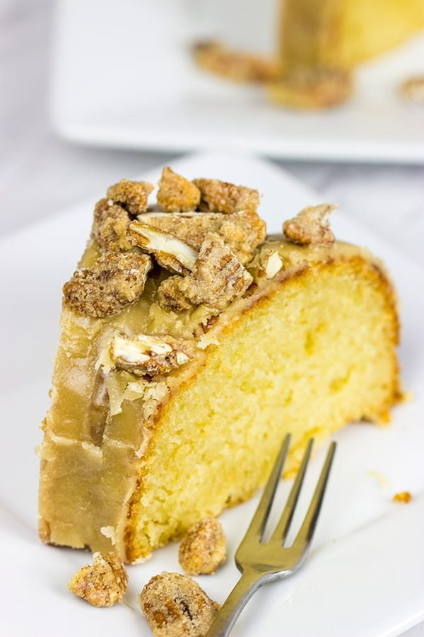 This Pecan Praline Bundt Cake features a warm praline frosting poured over a moist cake. Oh, and there's some sugared pecans in there, too! Enjoy!