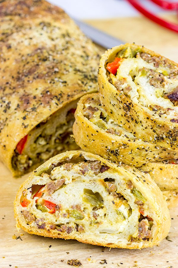 This Spicy Italian Sausage Roll is the perfect appetizer for your next party!