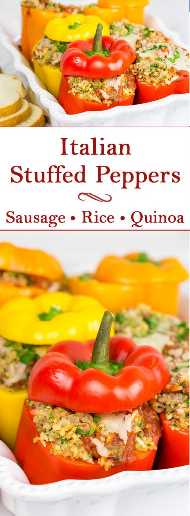 Stuffed with quinoa, brown rice and Italian sausage, these Italian Stuffed Peppers are a tasty and filling winter meal!