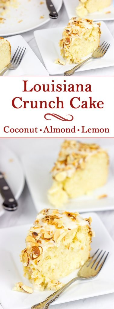 Packed with a combination of coconut, lemon and almond, this Louisiana Crunch Cake is sure to be a favorite sweet treat in your house!