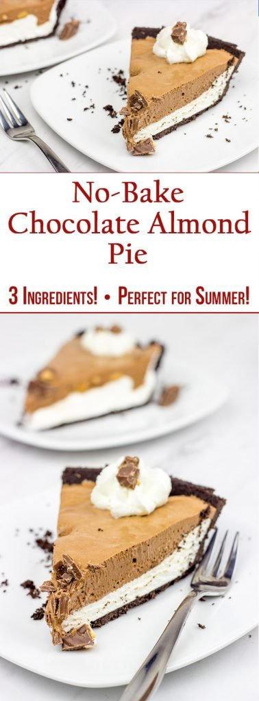 This No Bake Chocolate Almond Pie includes only 3 ingredients, and it's ready in minutes! It's perfect for summer parties!