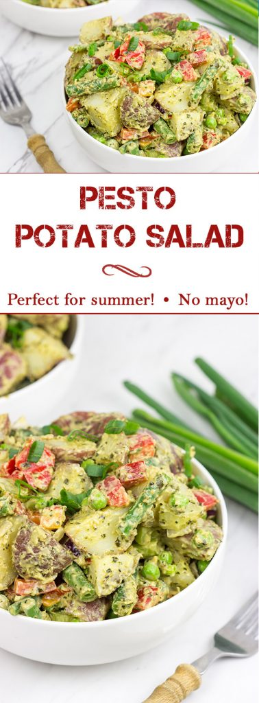 This Pesto Potato Salad is perfect for summer...and it doesn't include any mayo!