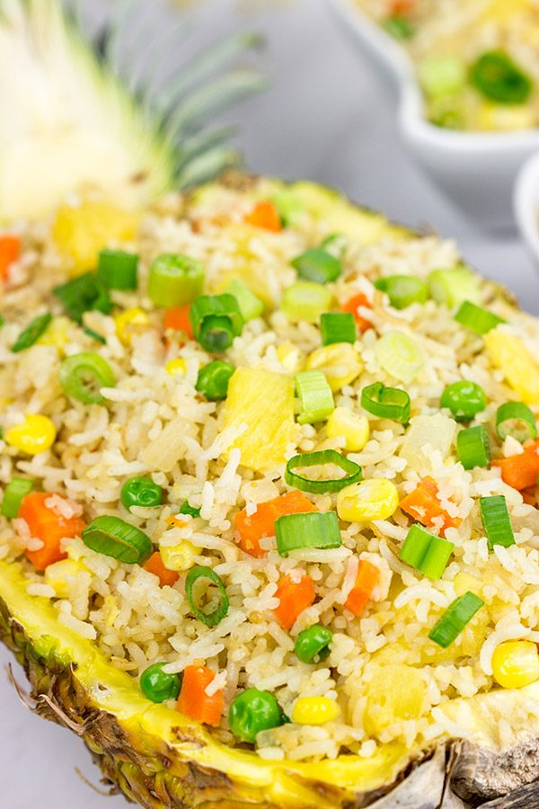 This Pineapple Fried Rice features just a touch of sweetness from the fresh pineapple...and it's seriously tasty!