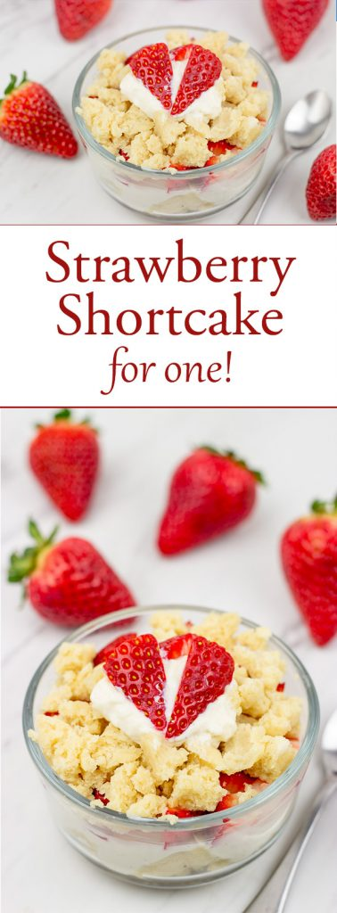 Craving a sweet treat, but don't want to make a whole cake? Go with this gluten-free Strawberry Shortcake for One!