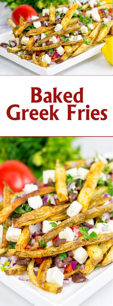 Loaded with feta, tomatoes and olives, these Baked Greek Fries make for one delicious appetizer!