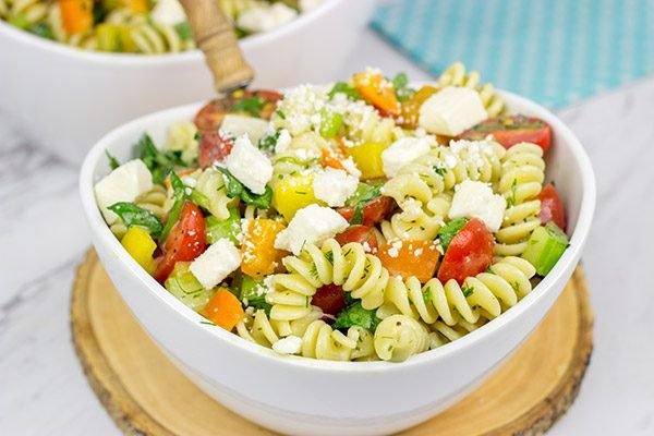 This Confetti Pasta Salad with Lemon Dijon Dressing is the perfect side dish for summer entertaining!