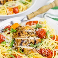 Pull out the grill! This Grilled Balsamic Chicken with Burst Tomatoes is one tasty summer recipe!