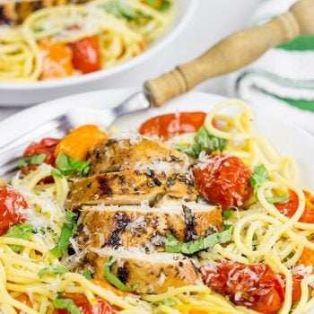 Grilled Balsamic Chicken with Burst Tomatoes