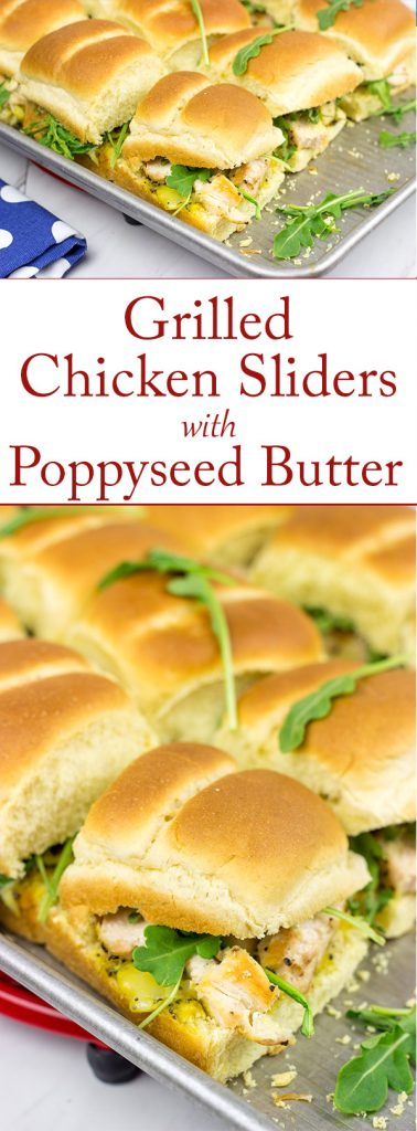 Looking for an easy and tasty summer picnic recipe? These Grilled Chicken Sliders with Poppyseed Butter are a favorite!
