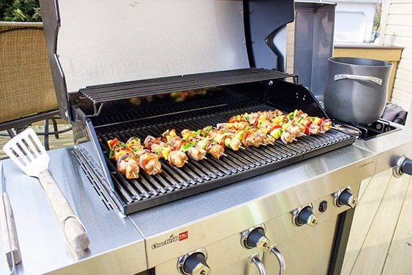 These Grilled Pork Kabobs are served over pasta for a fun and tasty summer meal!