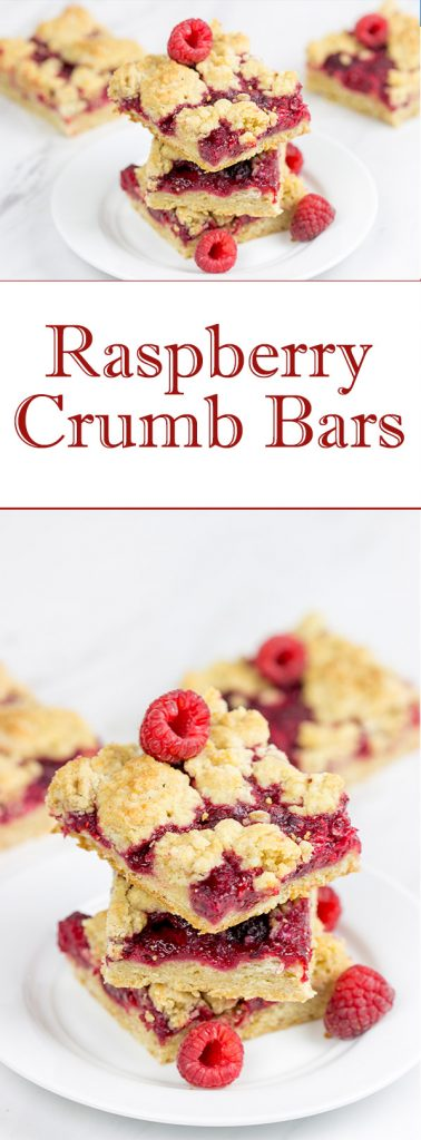 These Raspberry Crumb Bars feature fresh or frozen berries...and they're the perfect fruity dessert for a warm summer day!