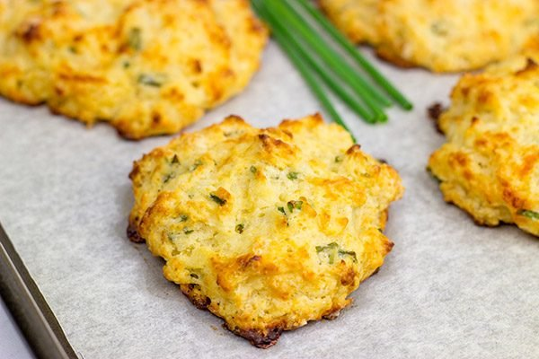 Grab some sharp cheddar and make up a quick batch of these Cheddar Chive Drop Biscuits for dinner tonight!