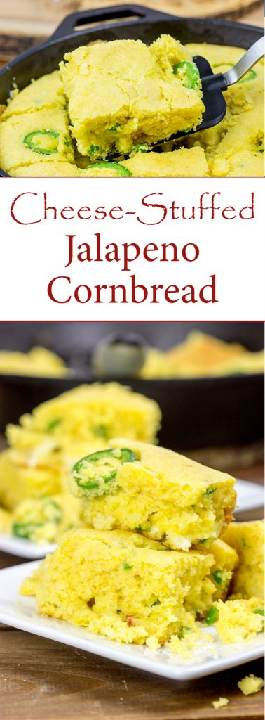 Welcome in the cooler weather with a batch of this Cheese Stuffed Jalapeno Cornbread!