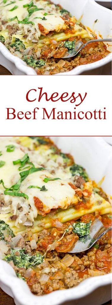 This Cheesy Beef Manicotti is a tasty comfort food dinner...perfect for chilly nights!
