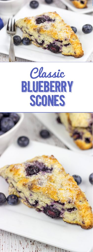 These Classic Blueberry Scones are a cross between a flavorful blueberry muffin and a crumbly buttermilk biscuit. I dare you to eat just one!