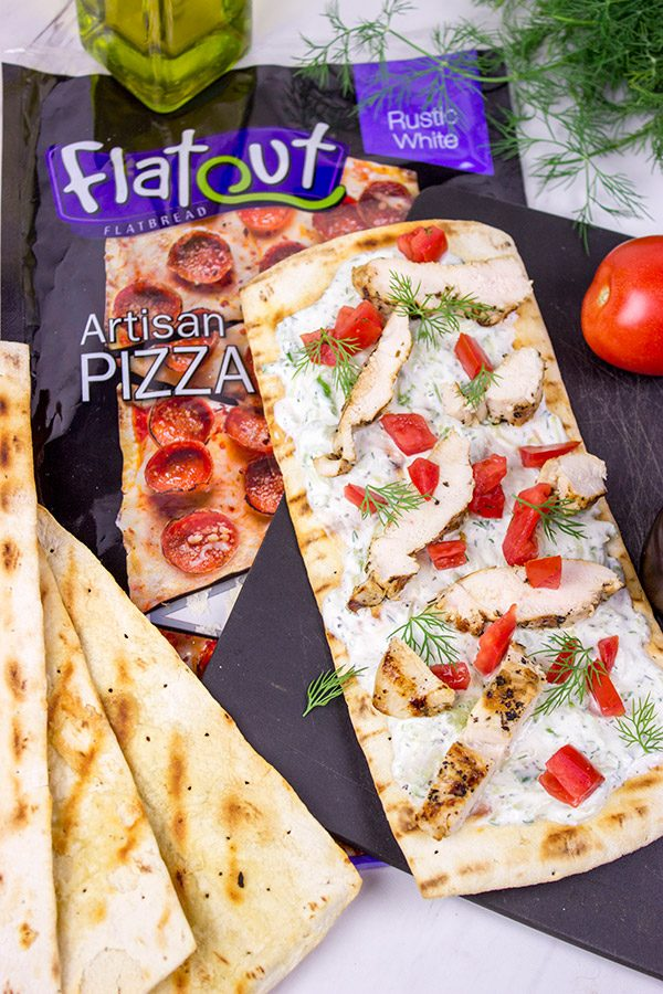 These Grilled Chicken Souvlaki Flatbreads are great for summer appetizers or a light dinner on the back porch!