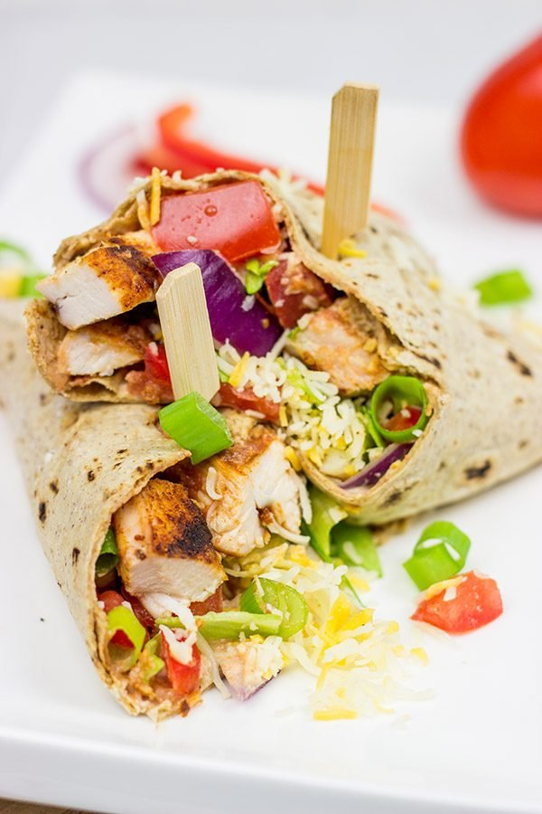 Wrap it up! These Grilled Chicken Taco Wraps are a healthy, flavor-packed lunch idea!