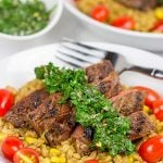 Grilled Flank Steak with Porcini Mushroom Pilaf