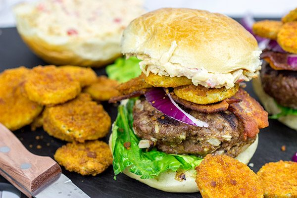 This Southern Burger features both pimento cheese and fried pickles, and it's one delicious way to celebrate summer!