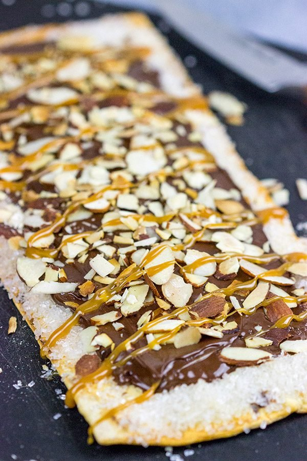 This Chocolate Almond Flatbread is a fun way to end the night on a sweet note!