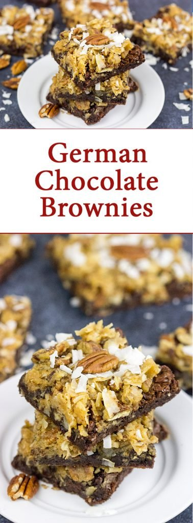 These German Chocolate Brownies feature a chewy, chocolate base topped with toasted pecans and coconut!