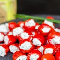These Goat Cheese and Chive Stuffed Piquante Peppers are loaded with flavor, and they're a great summer appetizer!