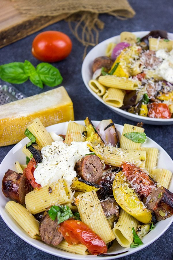 This Rigatoni with Grilled Vegetables is packed with fresh summer veggies! It tastes like summer on a plate!