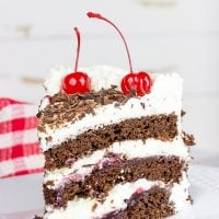 Featuring layers of chocolate cake filled with cherries and fresh whipped cream, the Black Forest Cake is a classic (and delicious!) dessert!