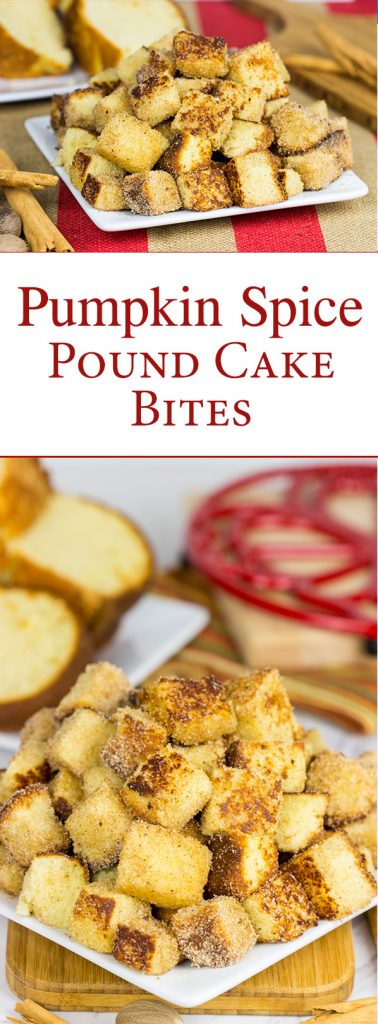 Take one fashioned pound cake.  Cut it into bites and then toss it in classic Autumn spices.  Oh yeah, these Pumpkin Spice Pound Cake Bites are quite tasty!