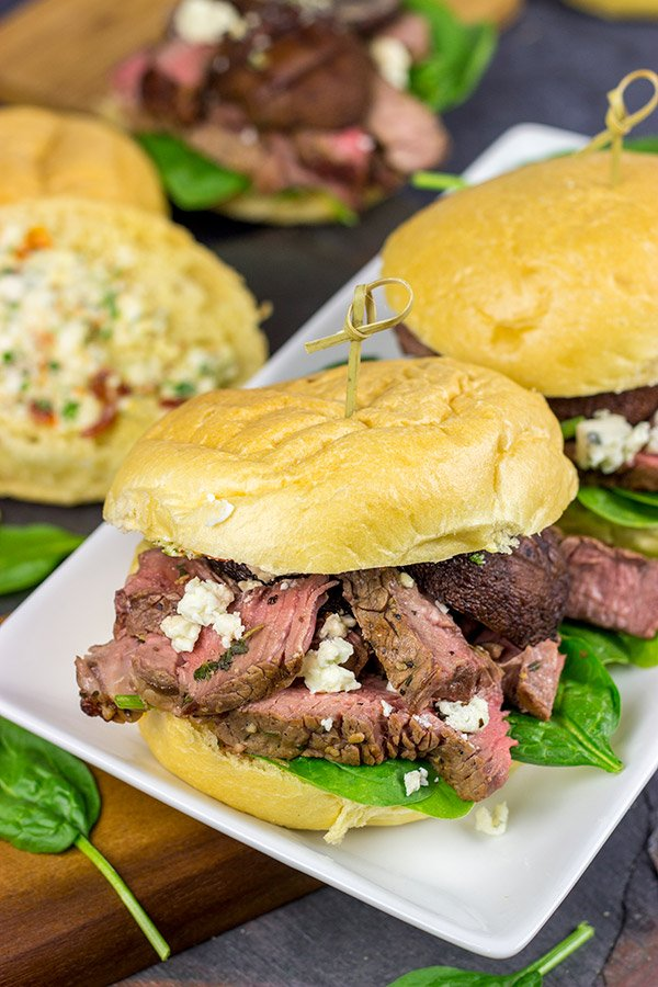 Steak Sliders with Blue Cheese Butter and Grilled Mushrooms