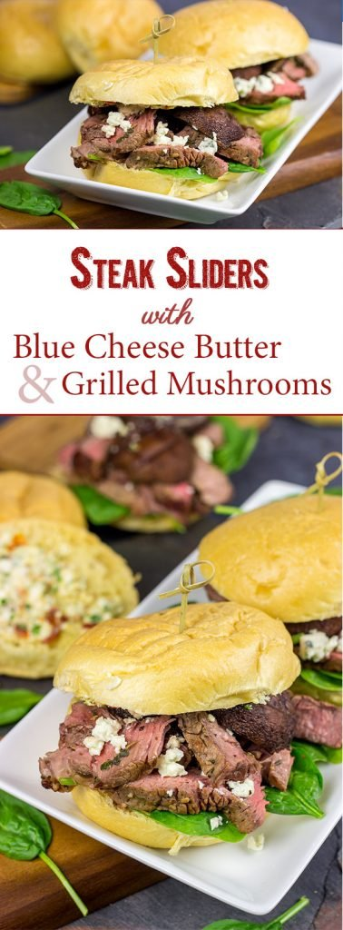 These Steak Sliders with Blue Cheese Butter and Grilled Mushrooms absolutely deserve a spot on your summer grilling menu!
