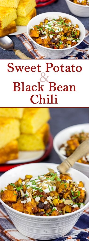 Looking for a tasty vegetarian chili?  This Sweet Potato and Black Bean Chili is packed with flavor and perfect for a chilly Autumn day!