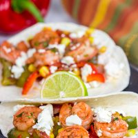 These Shrimp Fajitas with Corn and Bell Peppers make for one tasty dinner!