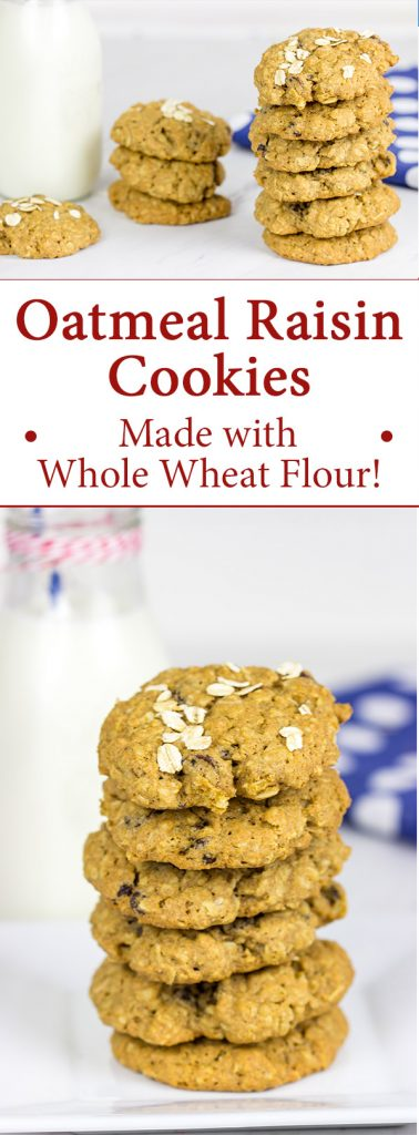 These Whole Wheat Oatmeal Raisin Cookies feature crispy edges and a chewy center...just the way oatmeal raisin cookies should be!