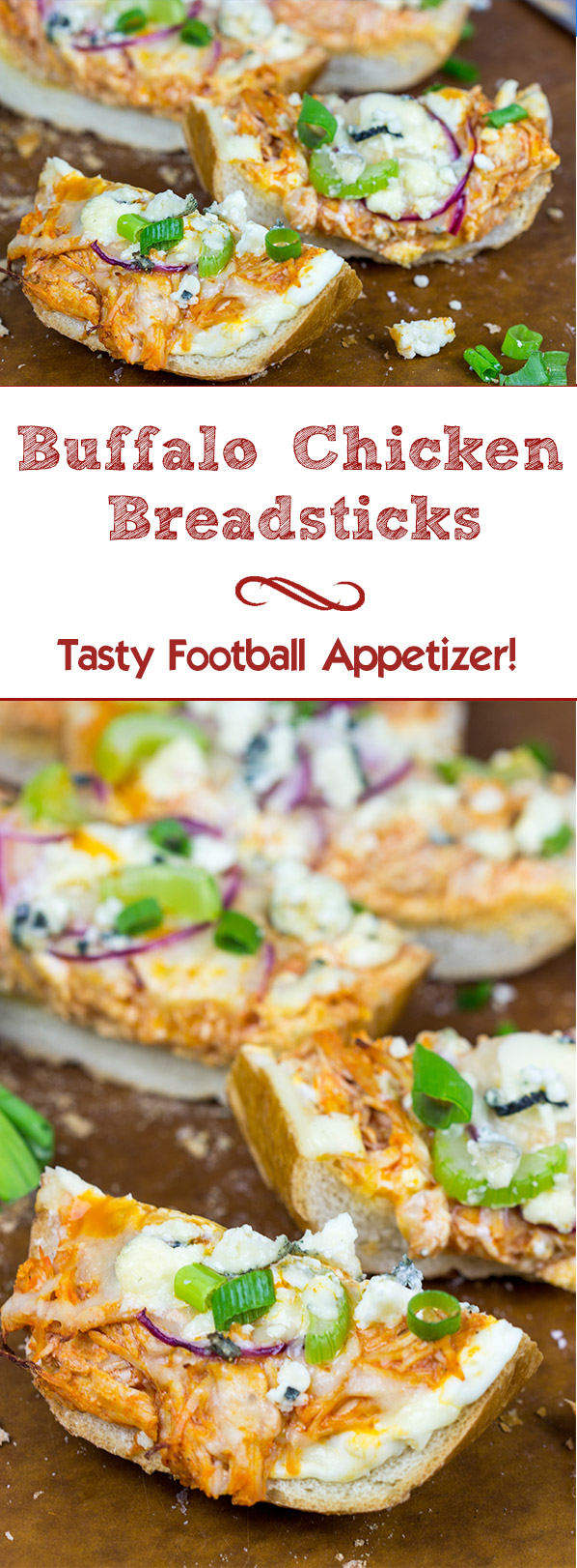 These Buffalo Chicken Breadsticks make an excellent football appetizer!  Grab a loaf of French bread and top it with spicy buffalo chicken, creamy blue cheese and melty mozzarella!