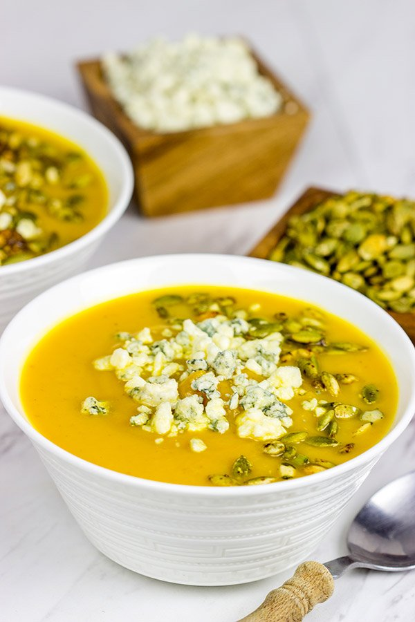 This Butternut Squash and Pumpkin Soup is a tasty (and healthy) way to warm up on chilly Autumn evenings!